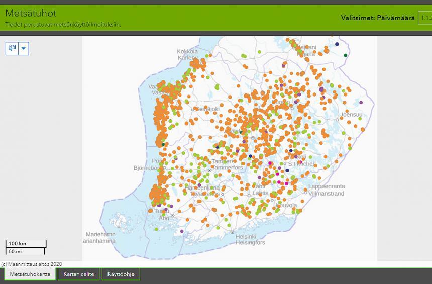 Kuvakaappaus karttapalvelusta, johon on koostettu ilmoitetut metsätuhohakkuut eri puolilta Suomea.